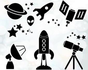 Space SVG - Rocket svg - Space SVG Bundle - Alien svg - Telescope svg - Planet svg - space Ship clipart - Space Decal - Space stars Clip Art