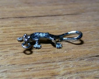 Small Silver Plated Realistic Lizard Pendant 26.25x12mm w/loop