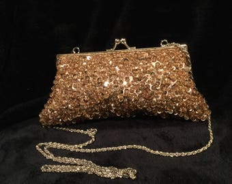 La Regale gold sequin evening bag
