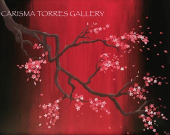 Cherry blossom tree, Cherry blossom, Red, Black, Pink, White, Flowers, Japanese art, Acrylic painting, Canvas, Original art