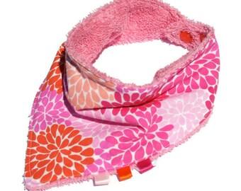 Bib bandana pink and orange flowers