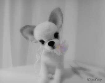 Needle felted chihuahua puppy - Miniature sculpture Handmade Felt toy - chihuahua a gift- realistic chihuahua puppy.