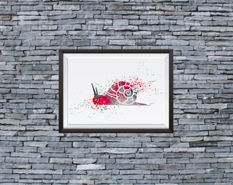 Snail Watercolor Print - Watercolor Painting  - Art Illustration - Wall Art - Home Decor