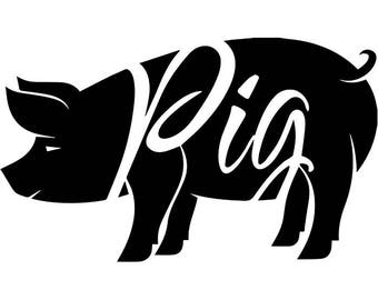 BBQ Logo #27 Pork Grill Grilling Meat Pig Bacon Barbecue Butcher Cooking Cook Out Chef Food Restaurant .SVG .EPS Vector Cricut Cut Cutting