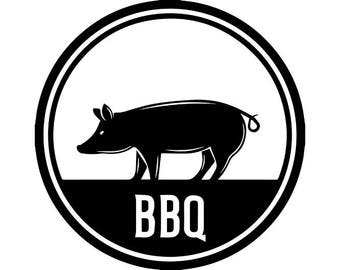BBQ Logo #28 Pig Pork Grill Grilling Meat Pig Bacon Barbecue Butcher Cooking Cook Chef Food Restaurant .SVG .EPS Vector Cricut Cut Cutting
