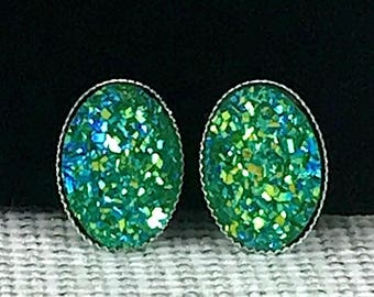 Green Druzy Earrings - Oval Druzy Earrings - Green Earrings - St Patricks Day Earrings - Irish Earrings - Irish Jewelry - Accessories -