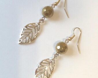Hematite earrings, Leaves Earrings, Gold dangle earrings, Gemstone Earrings, Dangle Earrings, gift ideas, Gold filigree leaf earrings