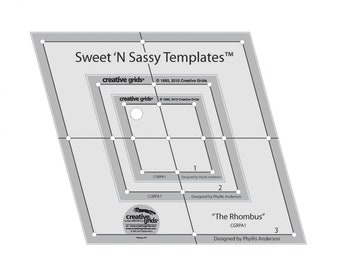 Creative Grids - Sweet N Sassy Rhombus Templates - 3pc set with holes - Quilt Ruler - # CGRPA1