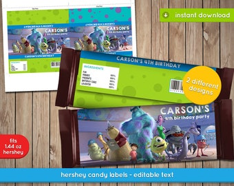 Monsters Inc Candy Bar Wrapper - Hershey Printable Chocolate Wrapper, Label, decoration, favors - Text Editable - INSTANT DOWNLOAD