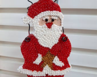 Santa Ornament, Santa Decoration, Holiday Ornament, Holiday Decoration, Christmas Ornament, Christmas Decoration, Beaded Ornament, Santa