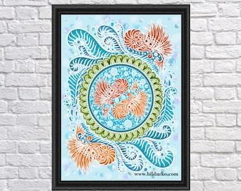 Harmony of the seas, Digital Print, Bohemian, yin-yang, INSTANT DOWNLOAD, Digital Download, Gallah Wall Art Digital