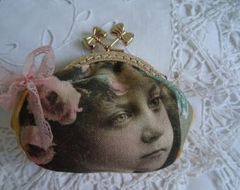 wallet fabric shabby POSTCARD clasp gold bows