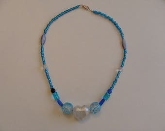 Blue beads and pearly white Heart Necklace