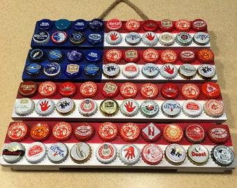 American Flag beer cap pallet art, beer flag, americana decor