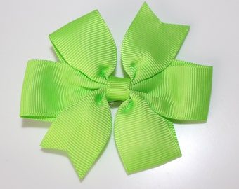 Lime Green bow hair clip for girl