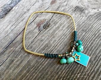 Square turquoise raw brass Bangle Bracelet