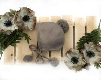 Fleece bonnet/ stone brown bonnet