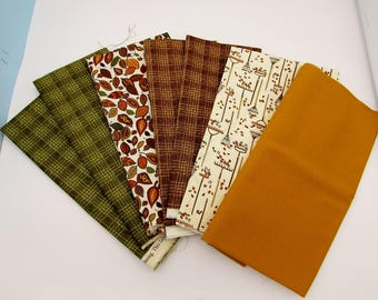 Cotton fabric bundle in brown gold green, Autumn leaves & Fall colors quilt blenders, FQ plaids, fabric stash, craft fabric, fabric remnants