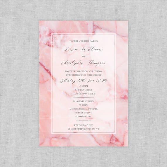 Pink wedding invitations, Marble wedding invitations, Marble wedding invites, Modern wedding invitations, Custom wedding invitation sets, A5