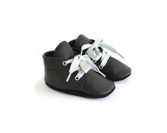 Black leather babyshoes softsoled - baby moccs