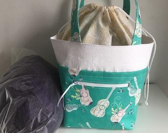 Guitar Knitting project bag, medium luxury knitting bag, Handbag, Craft Bag, Crochet Bag, Yarn Bag, WIP Bag, Drawstring bag, Project bag