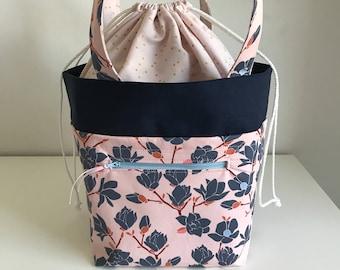 Magnolia Knitting project bag, knitting bag, Handbag, floral Bag, Crochet Bag, Yarn Bag, WIP Bag, Drawstring bag, Project bag, birthday gift