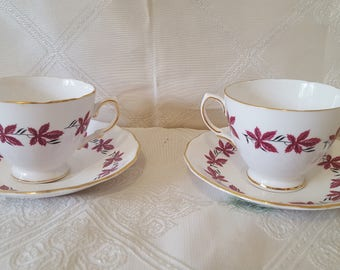 ON Sale, Vintage Colclough China, Colclough Teacups, Bone China, Made in England, English China , Vintage Teacups, English Teacups, Red Cups