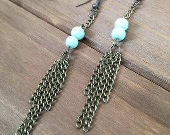 Bronze, Boho, Industrial, Glass Turquoise Bead and Glass Light Green Bead and Chains, Dangle, Drop, Chandelier Earrings