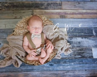 Boy Bloomer with Leather Suspenders ~ Newborn Photography Prop, Childrens Photography Set