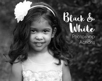 17 Black and White Actions Photo Editing Picture, Photoshop Actions, Portrait Actions Wedding, Monotone, Editable Actions