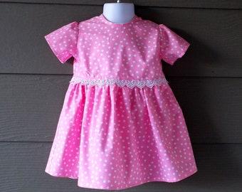 Pink Polka Dot Print Toddler Dress