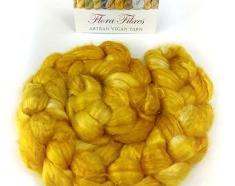 Botanically dyed rose spinning fibre, excellent silk alternative, vegan, 50g, for spinning or needle felting, UK