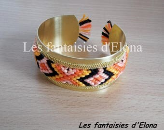 Style Bangle with orange color woven bracelet / black
