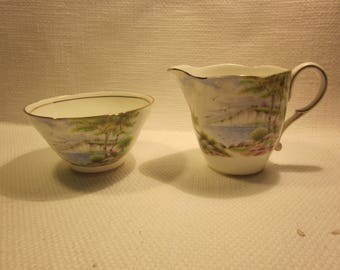 Paragon Cliffs of Dover fine bone china sugar and creamer, England