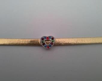 Gold leatherette Heart Rhinestone bracelet