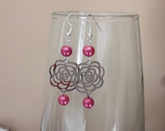 Filigree earrings pink and pink beads