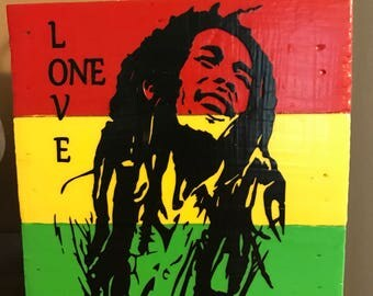 Bob Marley ~ One Love Vinyl Wood box hanging