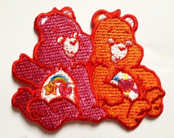 Patch/hanger-Bear animal-pink/orange-8.2 x 6.7 cm-by catch-the-Patch ® patch appliqué applications for ironing application patches patch