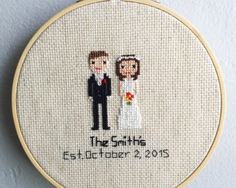 Wedding Stitch Family - CrossStitch Wedding- Custom Wedding Gift - Wedding Gift - Bridal Shower Gift - Anniversary Gift - Cotton Anniversary