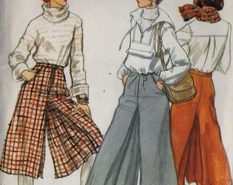 Vintage Sewing Pattern Vogue 9882 Womens Culottes - 2 Lengths - Rare - Uncut - Waist 24