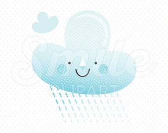 HAPPY RAIN CLOUD Clipart Illustration for Commercial Use | 0054