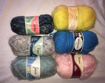 Six Skeins of Very Soft Fuzzy Yarn in Various Colors