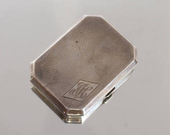 silver Art Deco cigarette case, with engine turned decoration and monogram  1930s