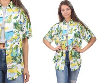 HAWAIIAN Shirt Vintage Men Women Abstract Print 1980s White Green Blue Hawaii Print Ibiza Short Sleeve Summer Shirt Large