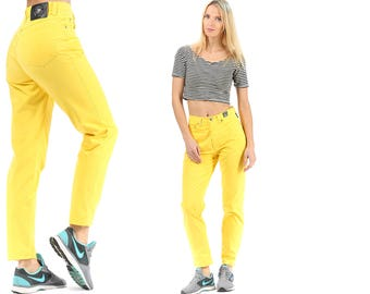 VERSACE Tapered Cotton Pants 90s Bold Yellow Trousers High Waisted  Pants  Zip Up Medium W28