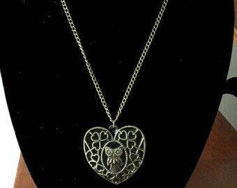 Beautiful Heart Owl Necklace