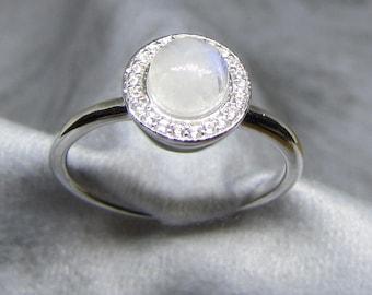 Women's silver Moonstone gemstone and Zirconium ring