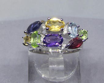 Ring silver addition size 50 - ring silver Multi-Pierres fine - ring silver Semi precious Gemstones - silver solid woman jewelry