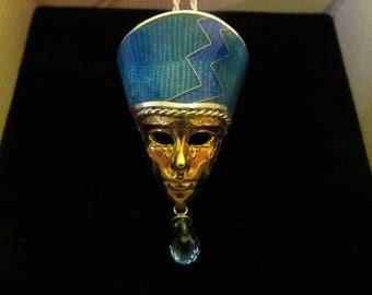 Handcrafted-Artisan-Jewelry-Cloisonne-Enamel-Necklace-Pendant-Silver-Topaz
