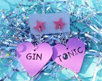 Gin and Tonic Earrings - lilac and pink
